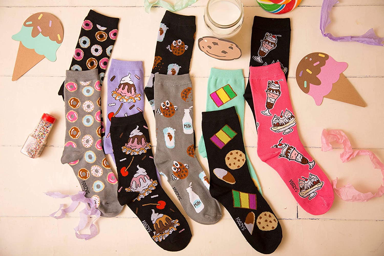 2 Pairs MILK /& COOKIES Foozys Novelty Fun Socks Womens Girls Sox Grey Black