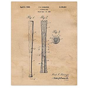 Vintage Baseball Bat Patent Poster Prints, Set of 1 (11x14) Unframed Vintage Style Photo, Wall Art Decor Gifts Under 15 for Home, Office, Man Cave, College, Student, Teacher, Coach, MLB & Sports Fan