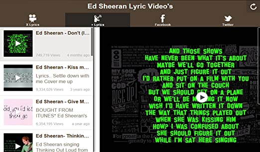 Amazon com: Ed Sheeran Lyric Video App: Appstore for Android