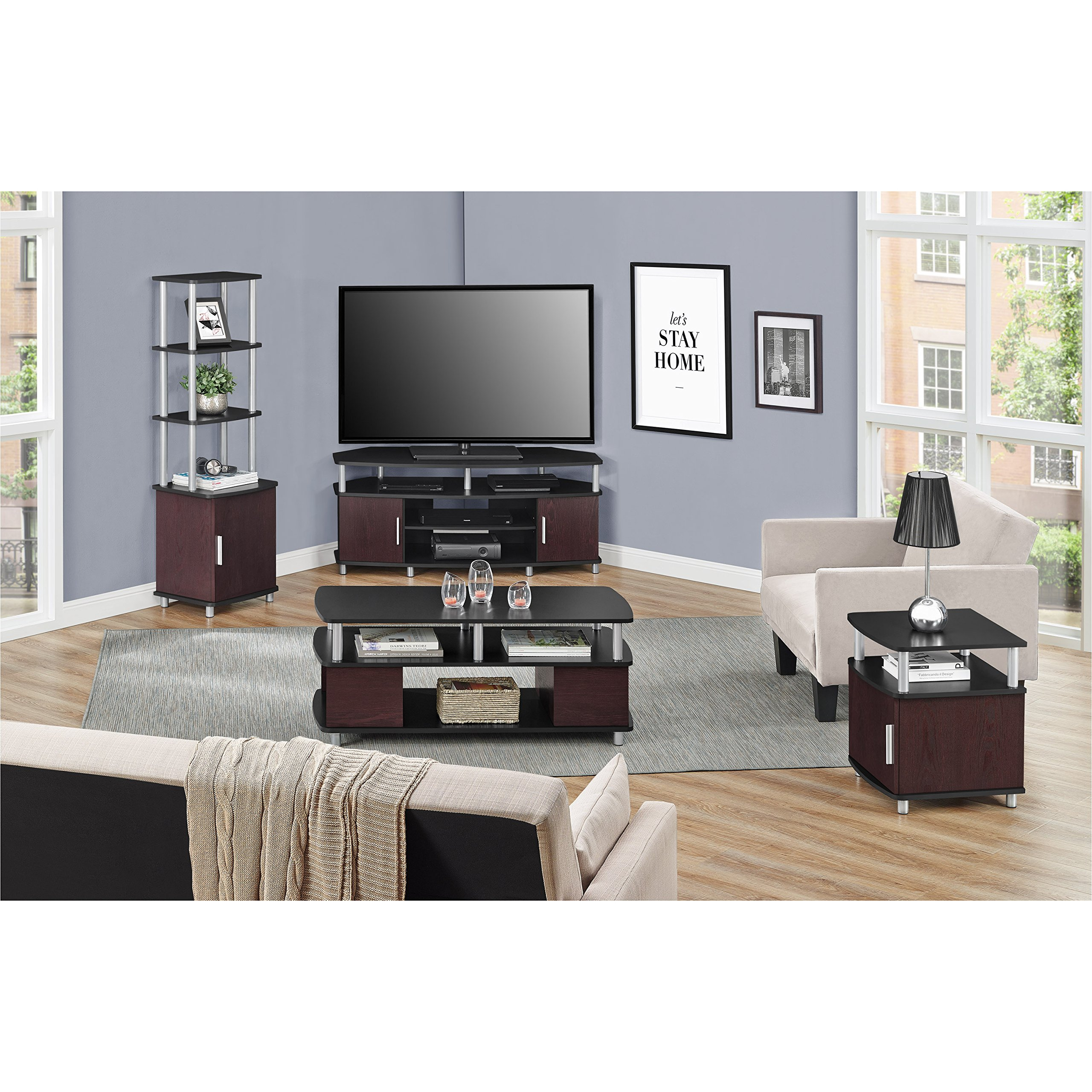 Ameriwood Home Carson Corner TV Stand for TVs up to 50'', Black/Cherry