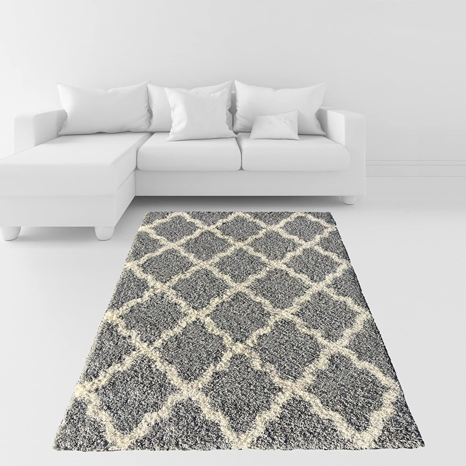 Amazon Soft Shag Area Rug 3x5 Moroccan Trellis Grey Ivory