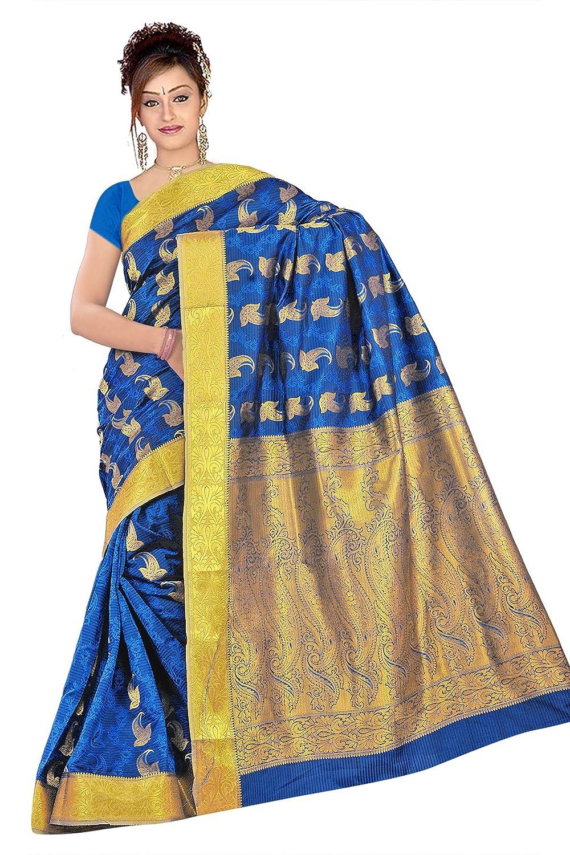 bcaa1a6160 Kanchipuram Art Silk Saree-Royal Blue: Amazon.in: Clothing & Accessories