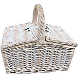 G2733 Weide Korb mit Stoffeinlage Weiß//Grau Einkaufskorb mit Deckel