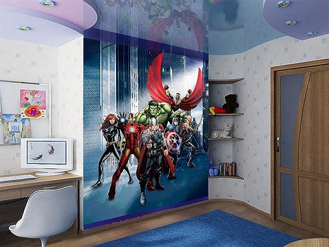 Amazon.com: WallandMore XL Superheroes Wall Decal Mural For boys ...