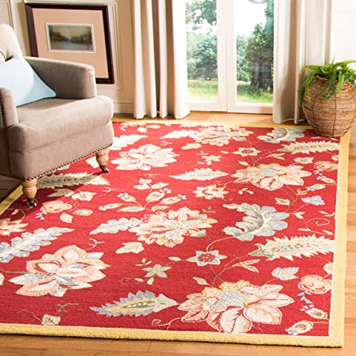 Safavieh Chelsea Collection HK306C Hand-Hooked Red Premium Wool Area Rug 7'9″ x 9'9″