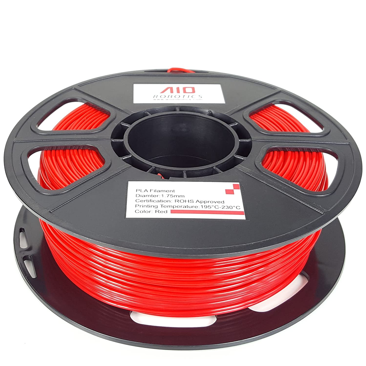 AIO Robotics AIORED PLA 3D Printer Filament 1.75 mm 0.5 kg Spool Red FT1021 Dimensional Accuracy +//- 0.02 mm