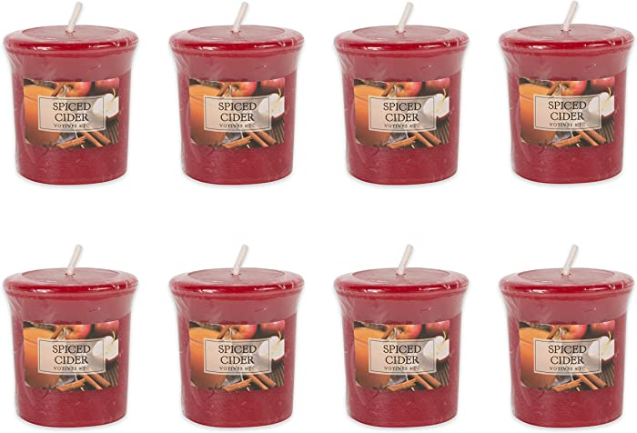 DII Single Wick Evenly Burning Highly Scented Votive Candle, 1.8 oz, Spiced Cider