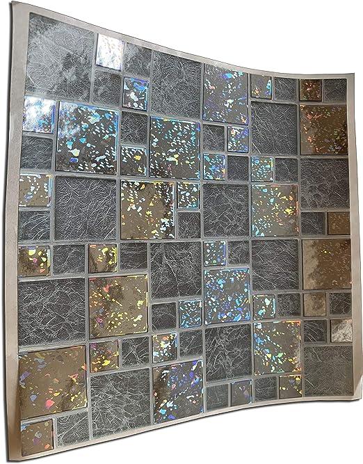 15pc Glitter Silver Chrome Kitchen Bathroom Tile Stickers For 15cm
