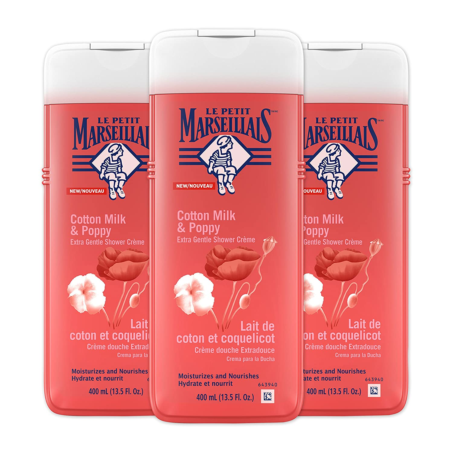 Le Petit Marseillais Extra Gentle Shower Crème with Orange Blossom, Moisturizing & Nourishing French Body Wash for pH Neutral for Skin, 21.9 fl. oz 381371171712