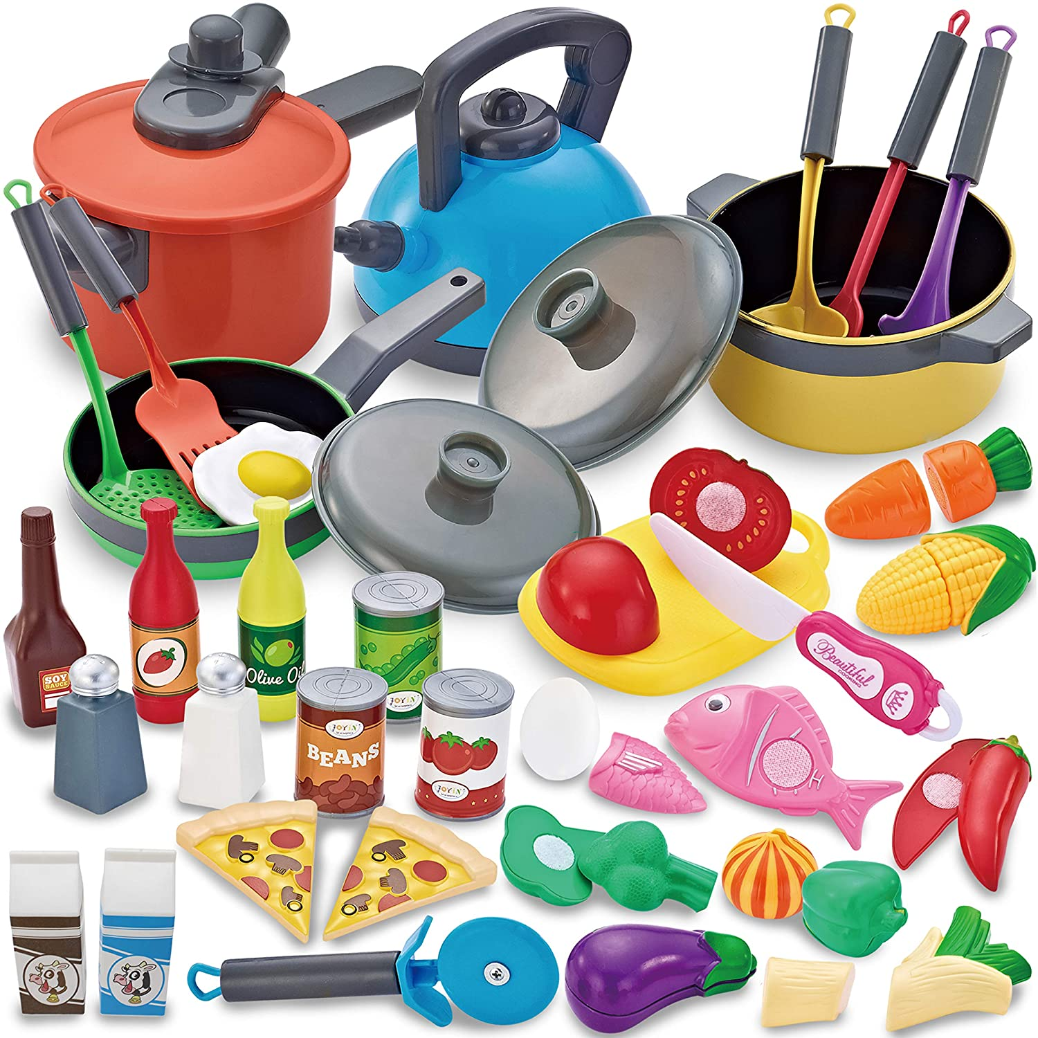 Amazon Com Joyin 36 Pieces Cooking Pretend Play Toy Kitchen Cookware Playset Including Pots And Pans Play Food Cutting Vegetables Toy Utensils Toys Games