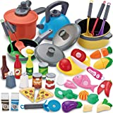 JOYIN 36 Pieces Cooking Pretend Play Toy Kitchen Cookware Playset Including Pots and Pans, Play Food, Cutting Vegetables…