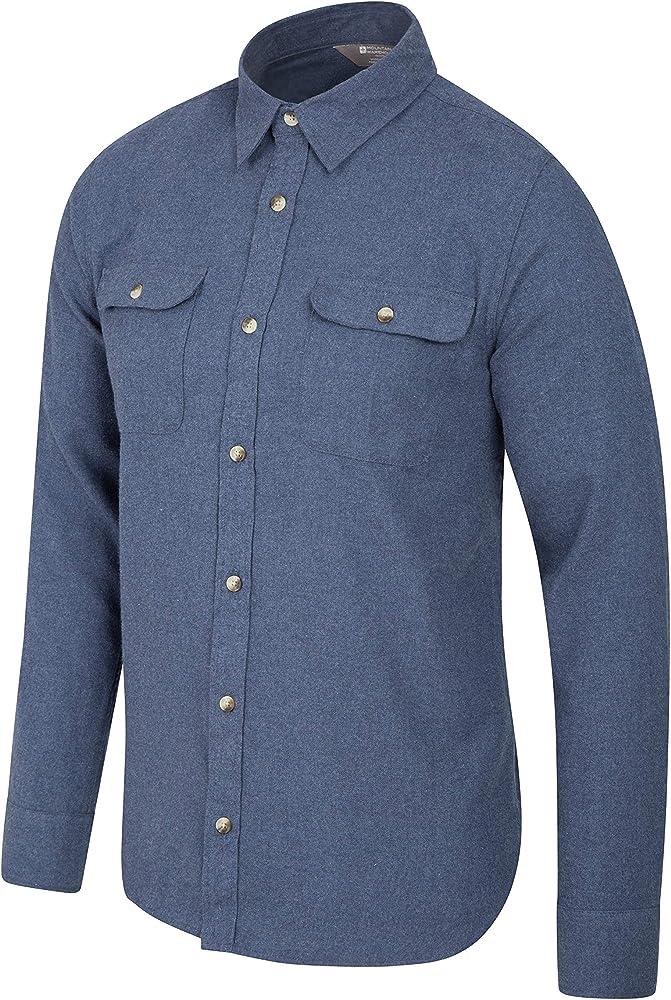 Mountain Warehouse Camisa de Franela de Manga Larga Track para Hombre Azul S: Amazon.es: Ropa y accesorios