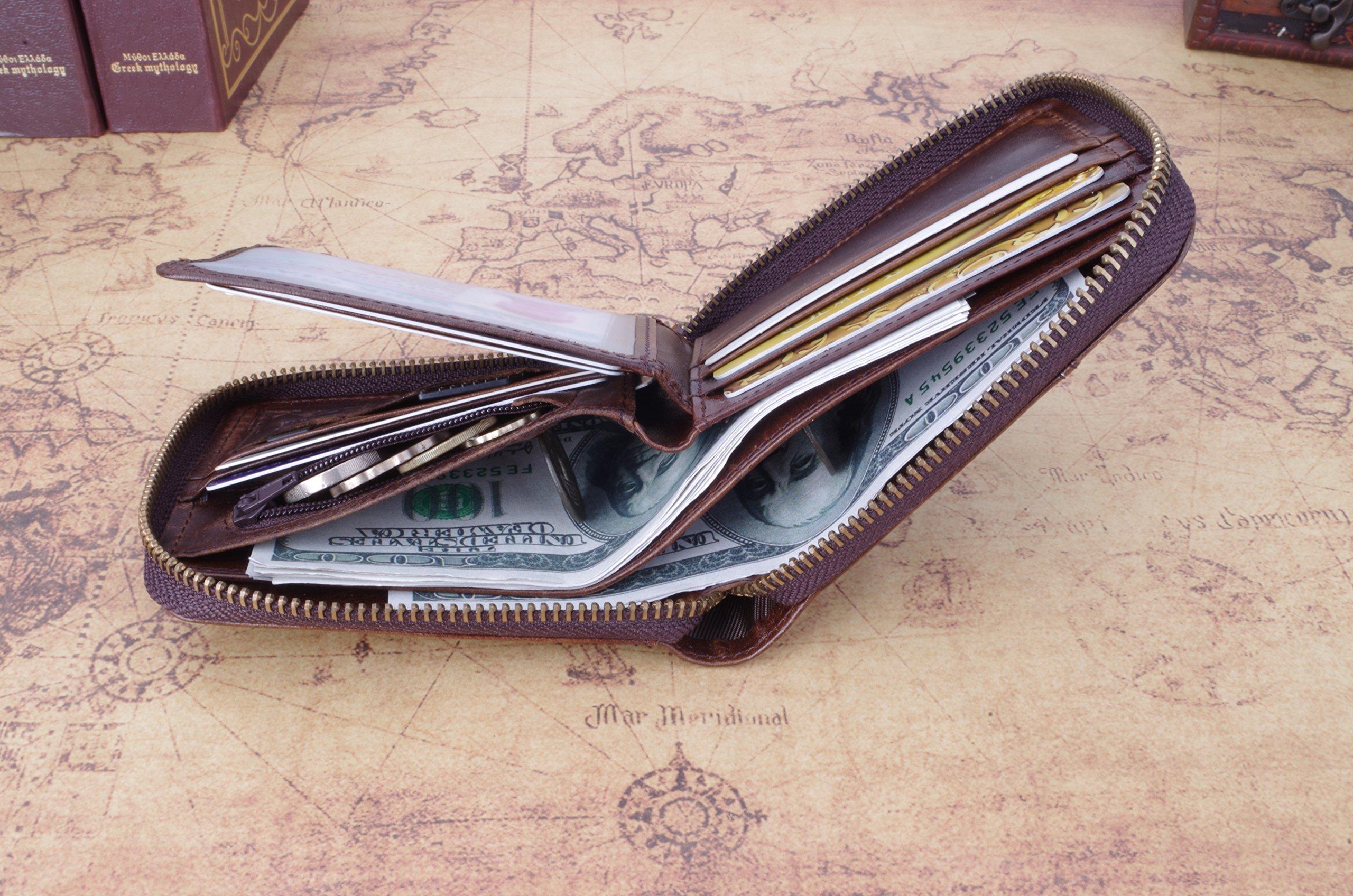 Admetus Men's Genuine Leather Short Zip-around Bifold Wallet (brown) by Admetus (Image #4)
