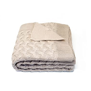 Kuprum Cotton Throw Blanket - Turkish Blanket (100% Cotton) - Throw Blanket for Couch Sofa Bed - 51 x 67 Inch - Beige Cream