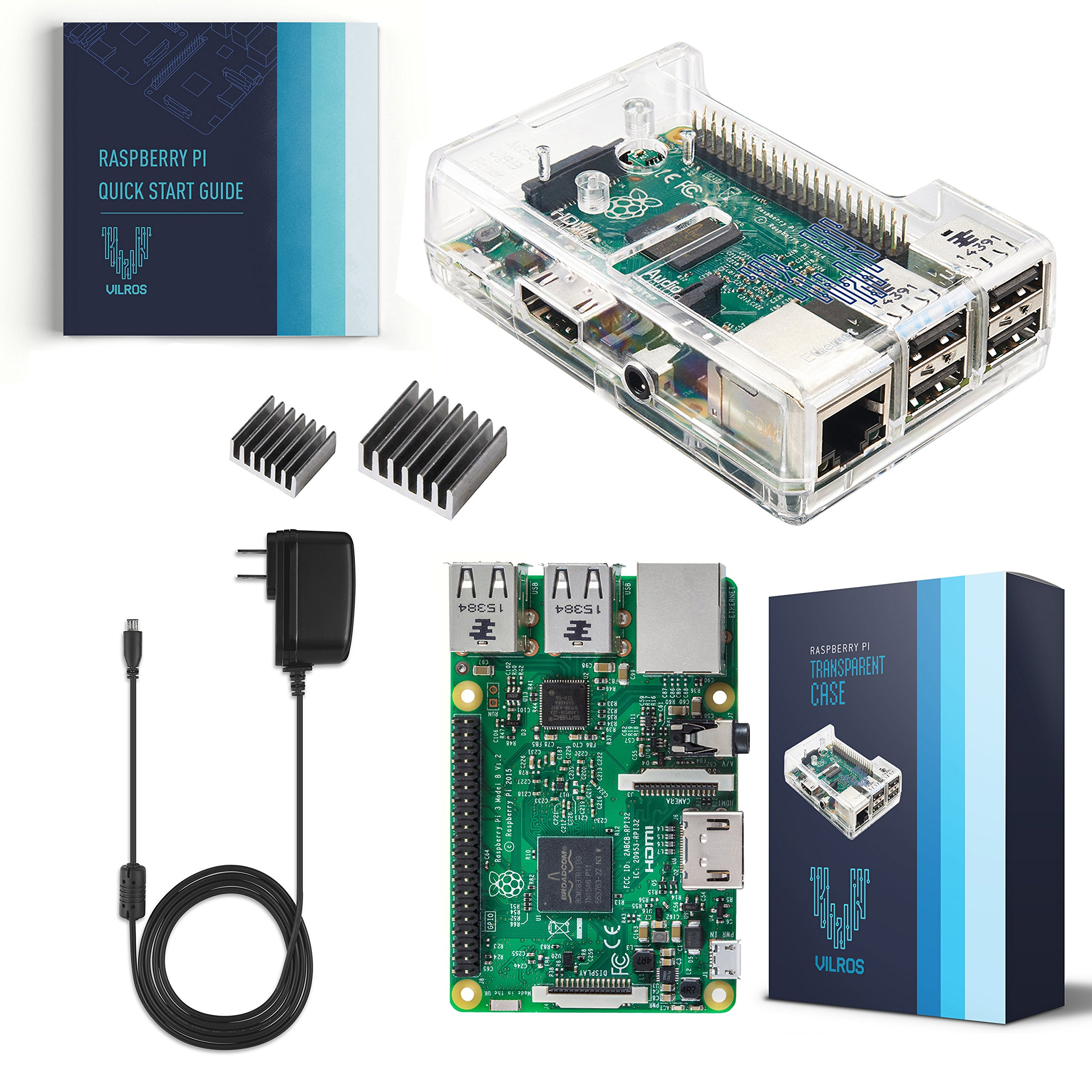 Vilros Raspberry Pi 3 Kit with Clear Case and 2.5A Power Supply by Vilros