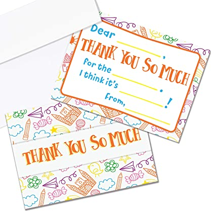amazon com kids thank you cards fill in the blank thank you cards