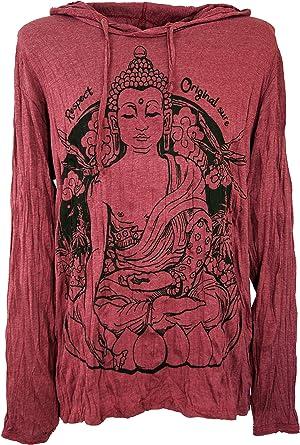 GURU-SHOP, Camisa Manga Larga Sure, Camisa con Capucha Meditación Buda, Burdeos, Algodón, Tamaño:L, Camisetas Seguras: Amazon.es: Ropa y accesorios