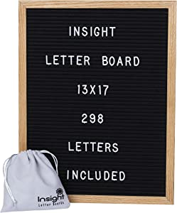 "Retro Vintage 13 x 17"" Oak Framed Felt Letter Board - 298 Characters (3/4"" Tall) w/Suede Letter Pouch"