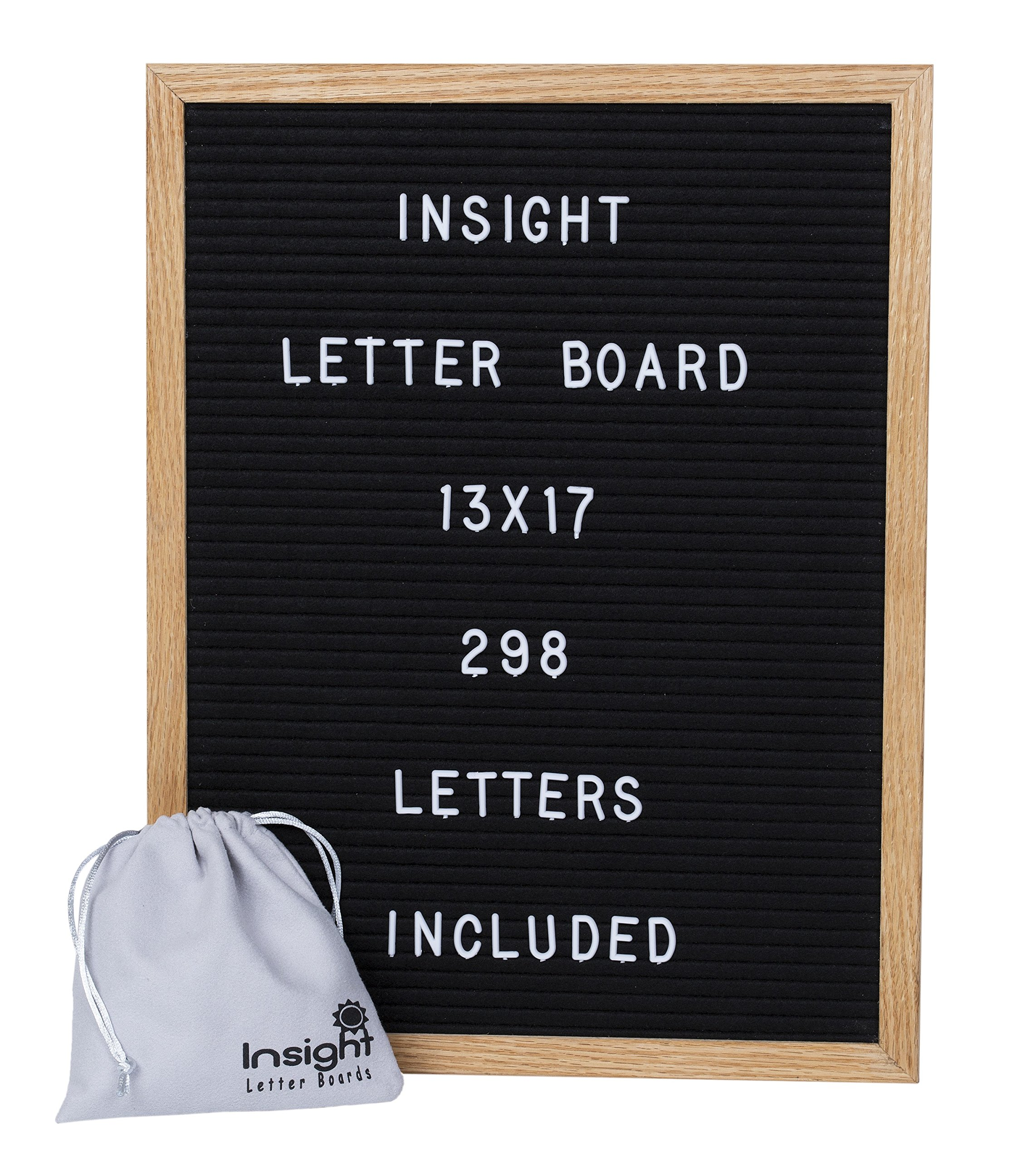 Retro Vintage 13 x 17'' Oak Framed Felt Letter Board - 298 Characters (3/4'' Tall) w/Suede Letter Pouch by Insight Goods