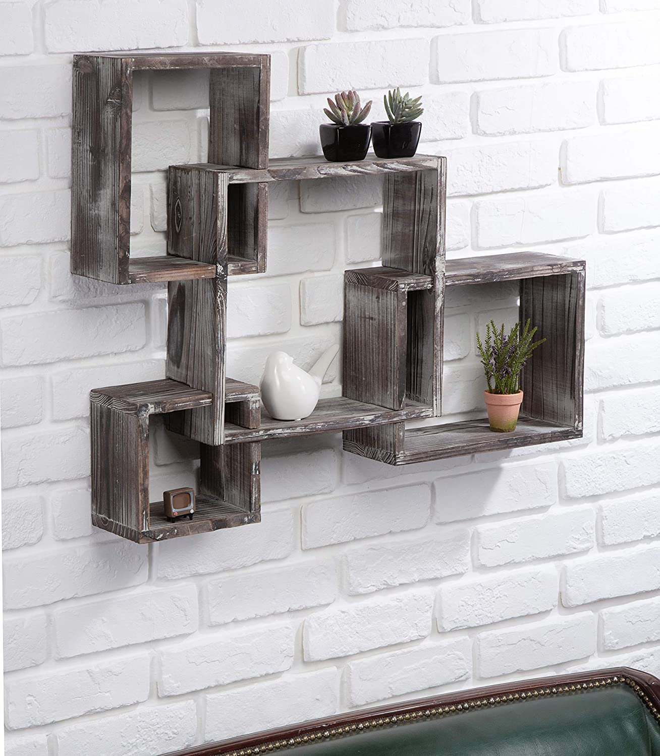 J JACKCUBE DESIGN Rustic Wood Shelves -Floating Intersecting Wall Shelves with 4 Cubes, Wall-Mounted Square, Antique Style Shadowbox, Decorative Collection Display Organizer. MK512A