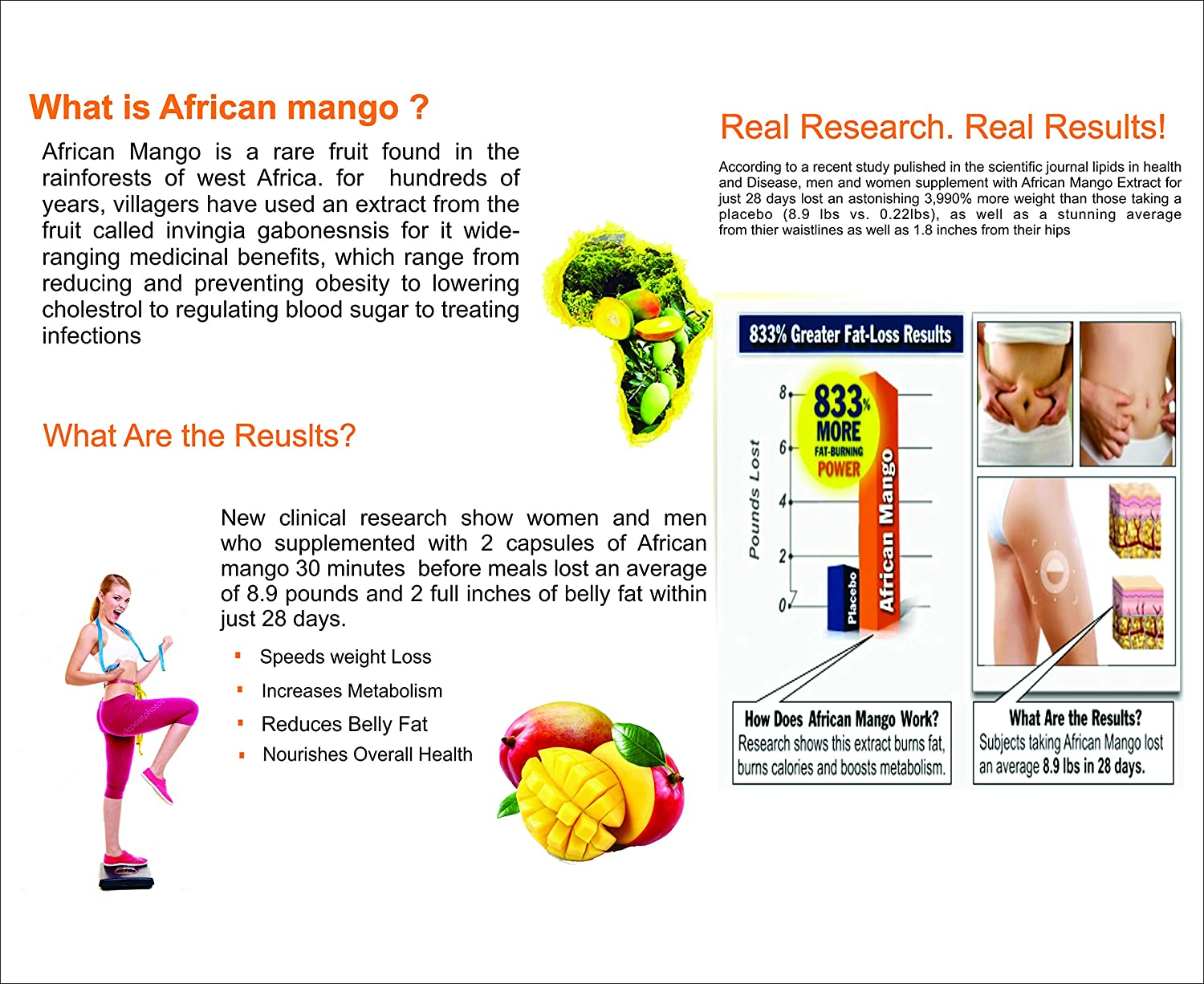 Amazon.com: Pure 100% African Mango Extract Powder Weight Loss Health- 100g for Free Ship: Health & Personal Care