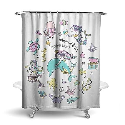 Mermaid Wishes Fabric Shower Curtain