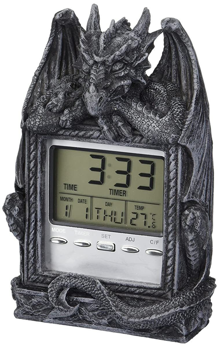Design Toscano Dragons Time LCD Alarm Clock in Grey Stone