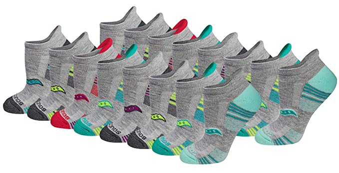 Saucony Womens Performance Heel Tab Athletic Socks (8 & 16 Packs), Grey), Shoe Size: 5-10