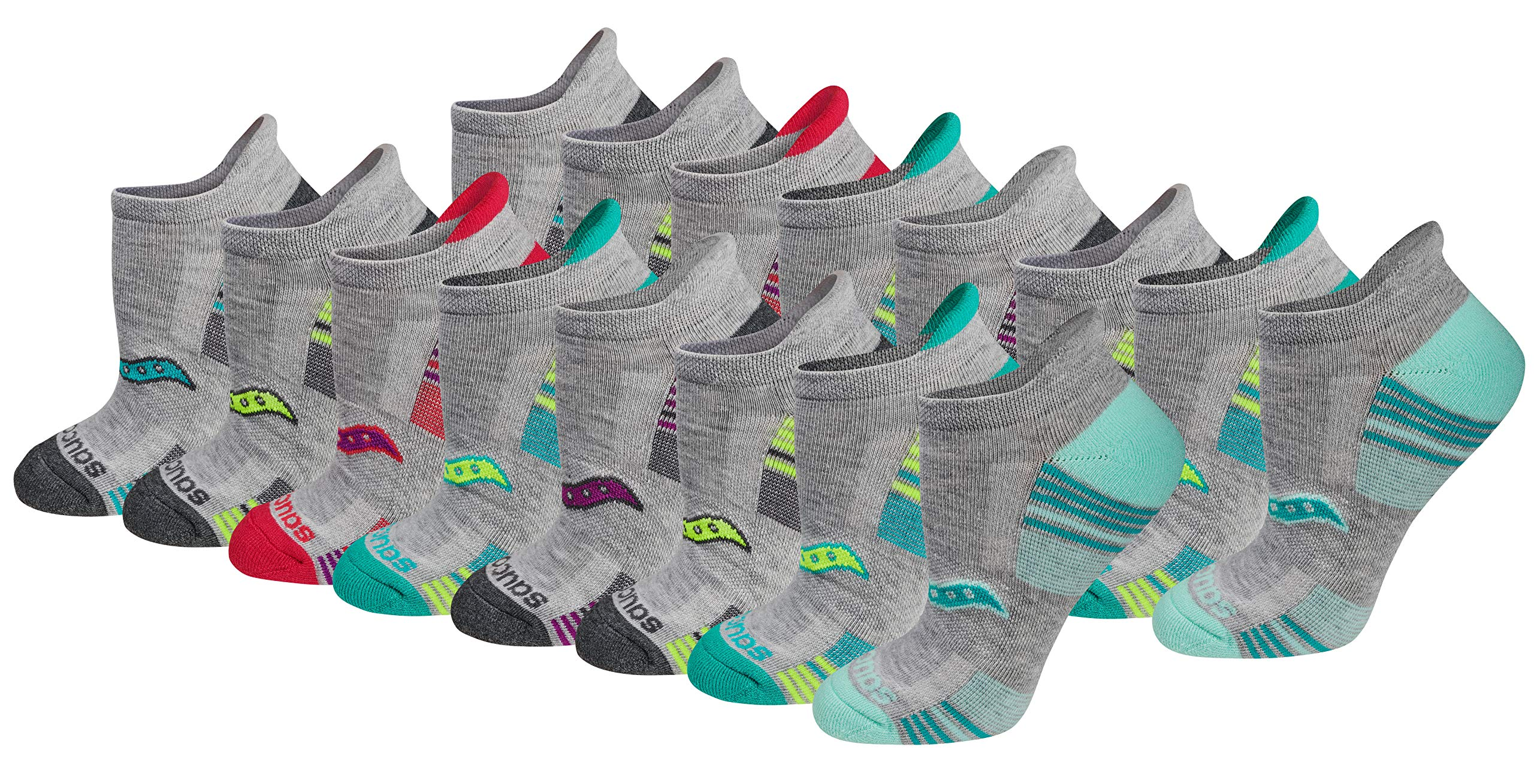 Saucony Women's Performance Heel Tab Athletic Socks (8 & 16 Packs), Grey), Shoe Size: 5-10