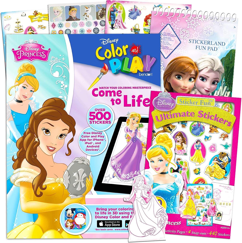 Amazon Com Disney Princess Coloring Book And Stickers Bundle Includes Disney Princess Color And Play Book Disney Princess Sticker Book And Frozen Sticker Book Kitchen Dining