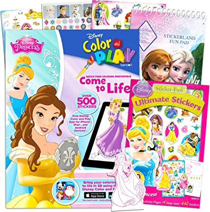 - Amazon.com: Disney Princess Coloring Book And Stickers Bundle -- Includes Disney  Princess Color And Play Book, Disney Princess Sticker Book, And Frozen  Sticker Book: Toys & Games