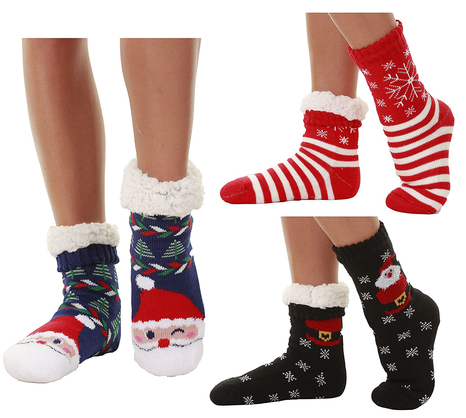 Winter-Weight Thermal Fleece-Lined Cozy Christmas Holiday Sherpa Lined Slipper Socks, 3 Pair Pack