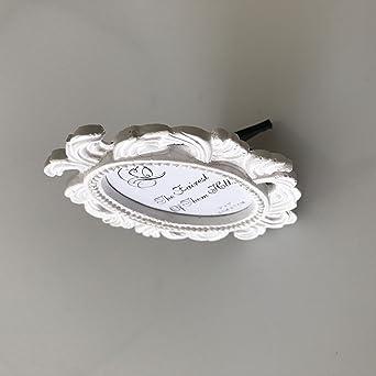 82c13c875f4 Amazon.com  TStoy Pack of 2pcs Mini Oval Small Resin Photo Frame Wedding  Name Holder Card Holder White  Clothing