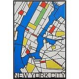 "Amazon Brand – Rivet Pop Art Print of New York City Map in Primary Colors, 26"" x 38"""