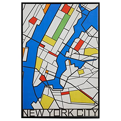 A Map Of New York City.Pop Art Print Of New York City Map In Primary Colors 26 X 38