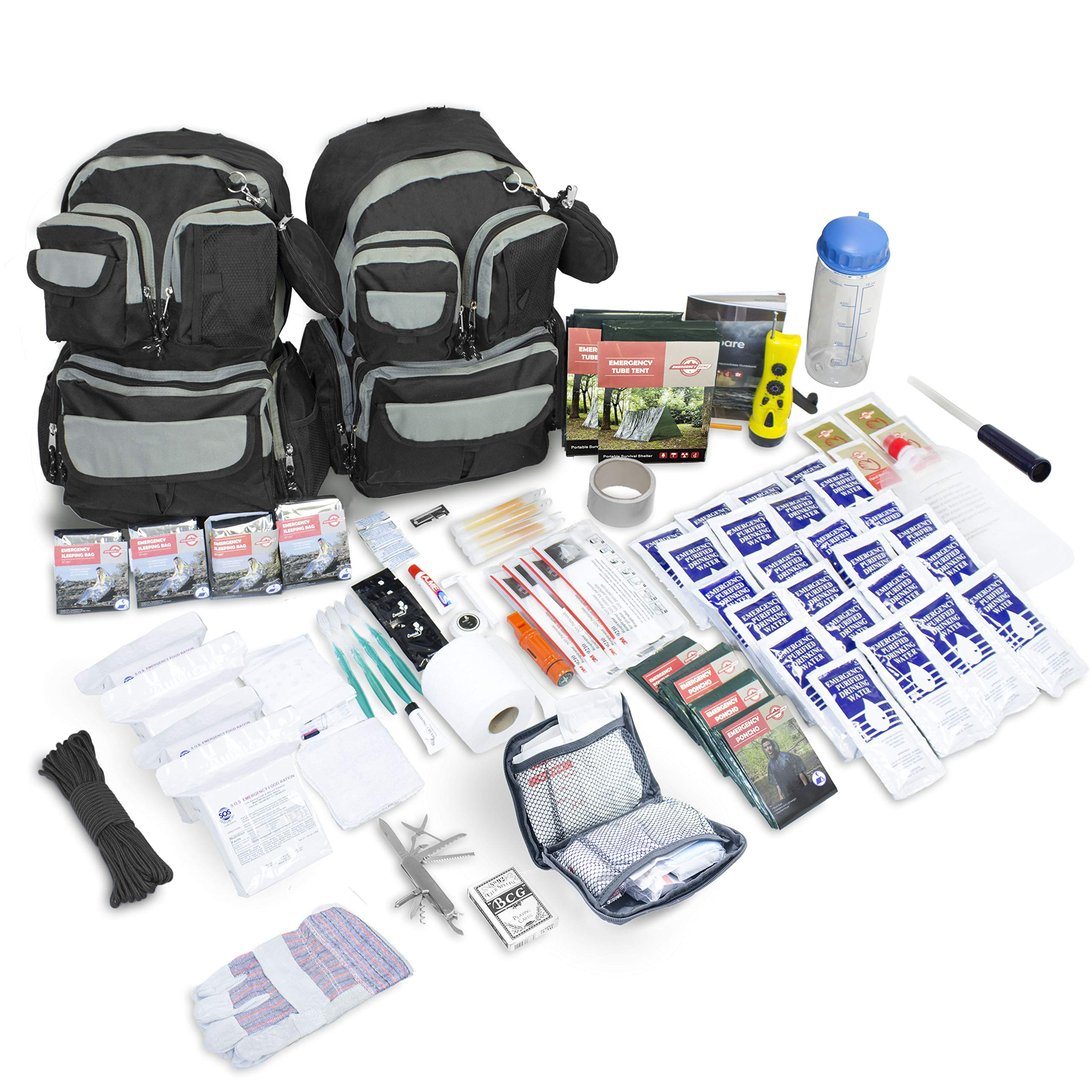 Emergency Zone 4 Person Urban Survival 72-Hour Bug Out/Go Bag | Perfect Way to Prepare Your Family | Be Ready for Disasters Like Hurricanes, Earthquake, Wildfire, Floods by Emergency Zone