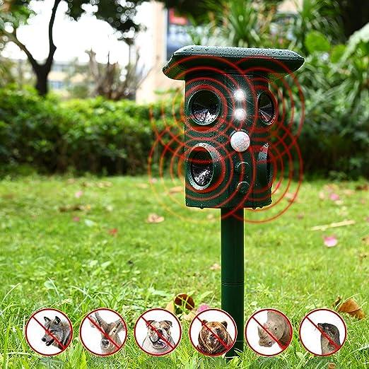CamGO Repelente para Gatos, Repelente ultrasónico para Animales Ahuyentador,con LED,Carga Solar Sensor de Movimiento y Luz Intermitente Detector para ...