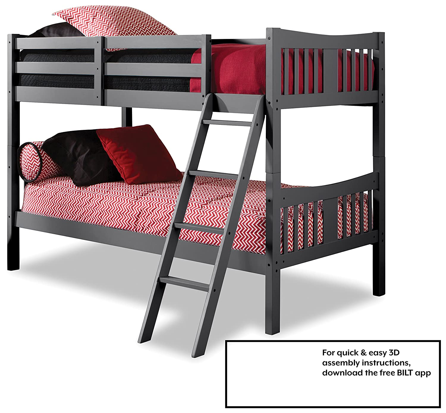 Amazon com storkcraft caribou solid hardwood twin bunk bed gray twin bunk beds for kids with ladder and safety rail baby