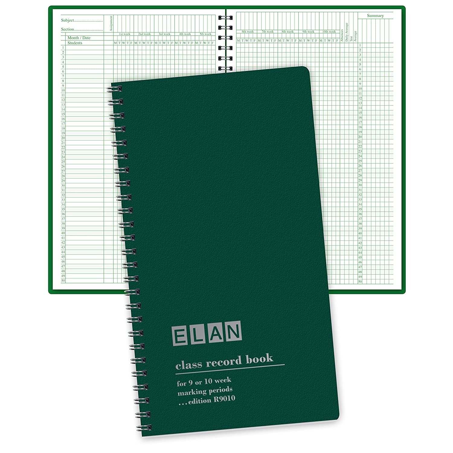 Class Record Book for 9-10 Weeks. 50 Names. Smaller Size 7
