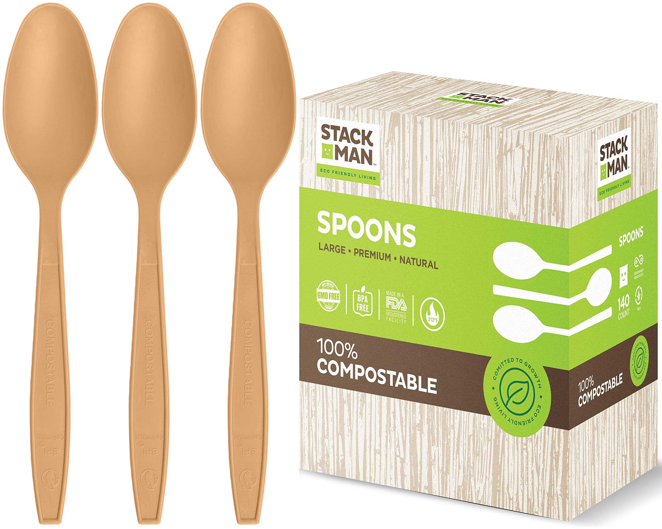 Stack Man Disposable Spoons [140 Pack] 100% Compostable Plastic Silverware, Large Premium Heavy-Duty Flatware Utensils Eco Friendly BPi Certified, 6.5 Inch, Organic Natural Wood Color Tableware by Stack Man