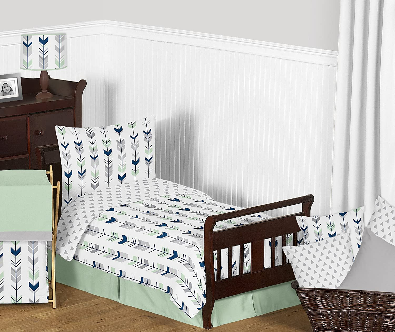 Sweet Jojo Designs 5-Piece Grey, Navy and Mint Woodland Arrow Print Boys or Girls Toddler Bedding Comforter Sheet Set