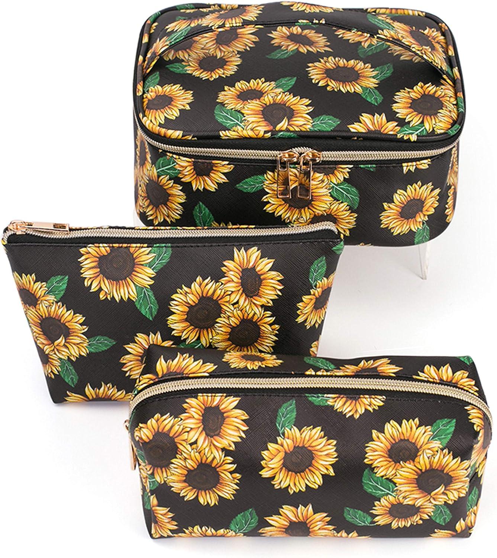 Hibala Makeup Bag Portable Travel Cosmetic Bag Waterproof Organizer Multifunction Case with Zipper Toiletry Bags Handbags for Women (Sunflower 3P)