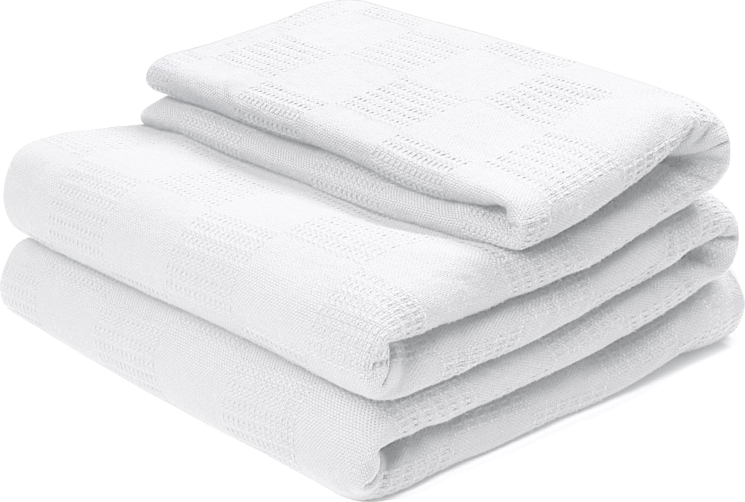 Utopia Bedding 100% Premium Woven Cotton Blanket (Twin, White) Breathable Cotton Throw Blanket Quilt Bed & Couch/Sofa