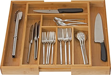 Home It Expandable Cutlery Drawer Organizer, Utensil Organizer Flatware Drawer  Dividers, Kitchen Drawer