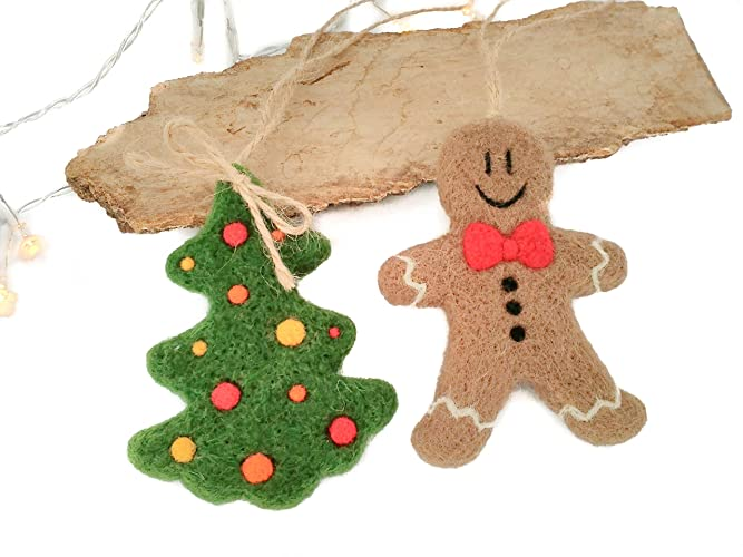 set of 2 christmas ornaments felted gingerbread man decor christmas tree ornament rustic - Rustic Christmas Ornaments