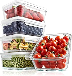 Superior Glass Food Storage Containers - 10 Piece Stackable Glass Meal-prep Containers -Newly Innovated Hinged BPA-Free 100% Leakproof Locking Lids w/ Air Hole - Freezer-to-Oven-Safe -NutriChef NCCLX5