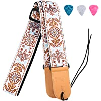 Vintage Guitar Strap, Woven Braided Adjustable Strap with Leather End for Acoustic and Electric Guitar & Bass (3 Matching Picks Included)