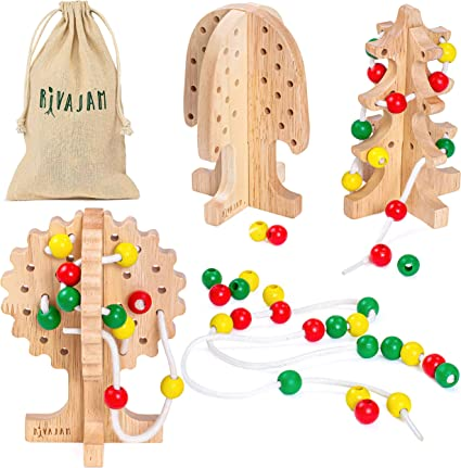 Wooden Threading Board Kids Lacing Toy Educational Sensory Activity Laces Game