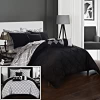Chic Home 10 Piece Maddie Rope like Pinch Pleated REVERSIBLE Oversized & Overfilled King Bed In a Bag Comforter Set Blue