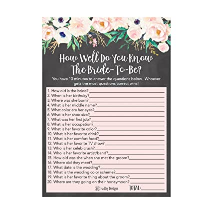 25 floral how well do you know the bride bridal wedding shower or bachelorette party game